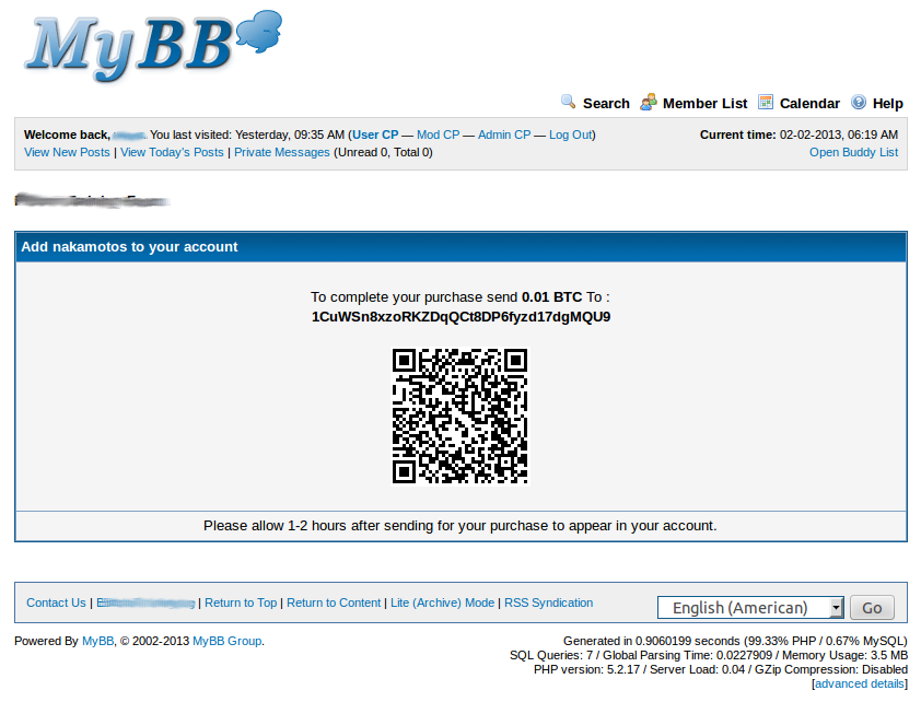MyBB Credit from Coins - Buy Forum Points/Gold/Tokens with Bitcoin